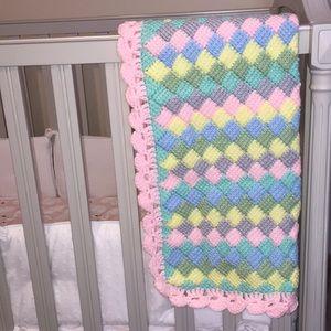 Brand New! Knit Crochet Pink Grey Blue Blanket